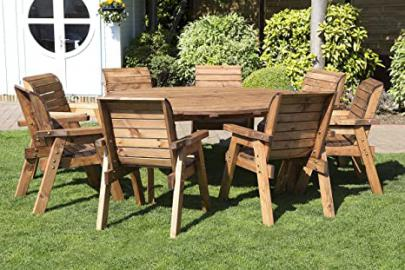 Round Wooden Garden Table and 8 Chairs Dining Set - Outdoor Patio Solid Wood Garden Furniture