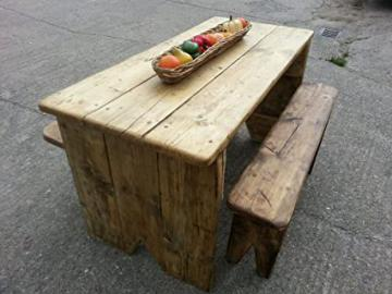 Rustic wooden Dining / Garden Set 4 foot Table and Benches heavy quality more sizes available