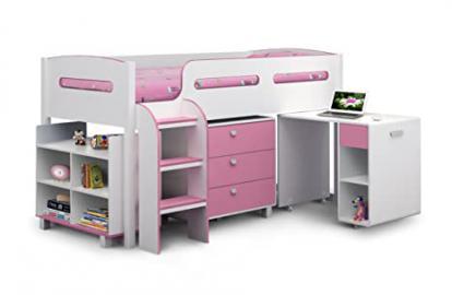 Julian Bowen Kimbo Single Cabin Bed, White/ Soft Pink