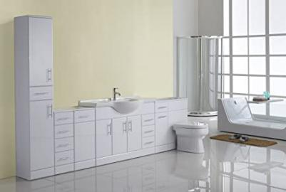 2750mm White Gloss Fully Fitted Bathroom Furniture Combination Set