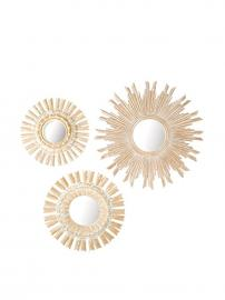 Tozai Sunburst Pickled Mirrors Set of 3