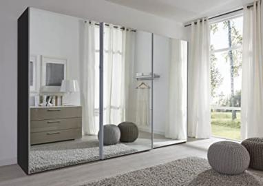 Schlafzimmer Komet Black: Mirror Sliding Door Wardrobe - 301cm Wide - German Made Bedroom Furniture