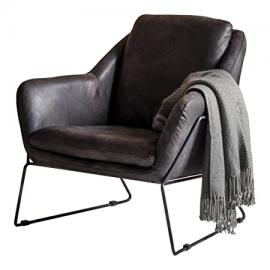 Gallery Direct Carson Leather Armchair, Leather, Ebony, 29 x 33.5 x 31.5-Inch