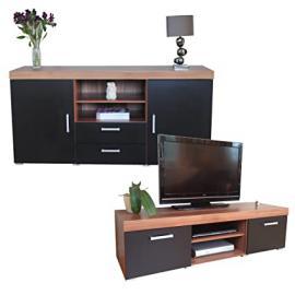 Black & Walnut Sydney Large Sideboard & TV Cabinet 140cm Unit Living Room Furniture Set