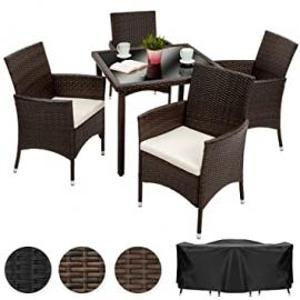 TecTake 4 Chairs + 1 Table Luxury Rattan Garden Furniture Set | Includes protection slipcover and stainless steel screws | mixed brown