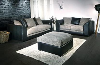 Colada Byron Sofa Range Black & Grey (3 & 2 Seater & Footstool)