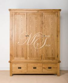 SOLID CHUNKY WOOD RUSTIC OAK TRIPLE WARDROBE WITH 3 DRAWERS