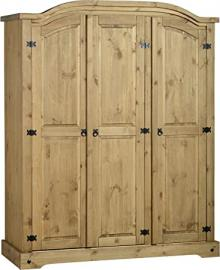 Corona 3 Door Wardrobe Distressed Waxed Pine