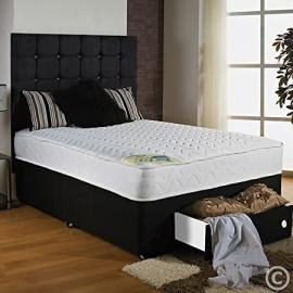 "Hf4You 4Ft Small Double Micro Quilted Soft Touch Divan Bed 13.5G Open Spring Next Day - 2 Drawers - Foot End - Large 30"" Diamante H/B"