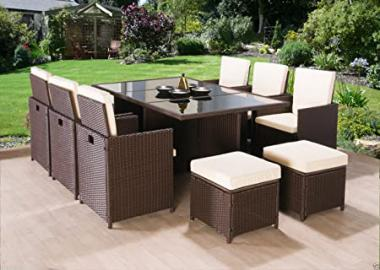 Luxury 10 Seater Rattan Garden Furniture Cube Set Dining Table Chair Footstools High Back (Brown)