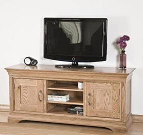French Solid Oak Furniture Widescreen Television Cabinet Stand Unit