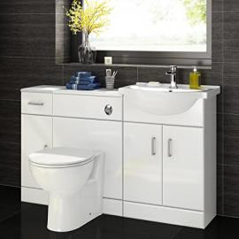 1200 mm White Gloss Bathroom Vanity Furniture Basin Unit + Back to Wall Toilet