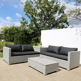 Four Seater Rattan Garden Sofa Set with Side Table and Storage Boxes