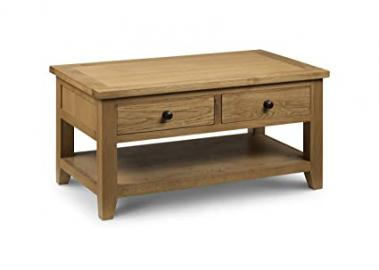 Julian Bowen Light Astoria Coffee Table with 2-Drawers, Waxed Oak