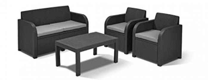 Allibert Carolina Lounge Set - Graphite with Grey Cushions