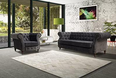 Lovesofas Belgravia Chesterfield 3 2 1 Seater Sofa Suite Variations - Amos Dark Grey (3+1)