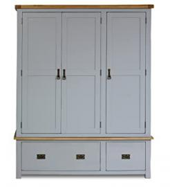 Birlea New Hampshire 3-Door 2-Drawer Wardrobe - Wood, Grey and Oak