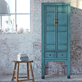 Blue Turquoise Painted Solid Pine Chinese Cupboard Far East Asian Style 190 cm