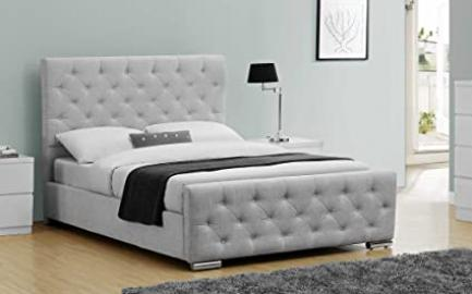 Luxury Upholstered Buckingham Bed Frame Crushed Velvet or Grey Fabric - Double or King Size By Sleep Design (Double, Grey)