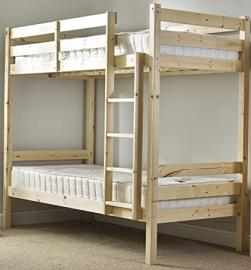 Small Single 2ft 6 Pine Bunk bed with two memory foam mattresses Adult use - HEAVY DUTY 2ft 6 BUNK BED