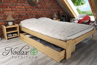 """F15"" Set No.3 Wooden Pine Bedframe, Underbed Storage Drawer 150cm, 2xBedside Units (150 x 200 cm, pine)"