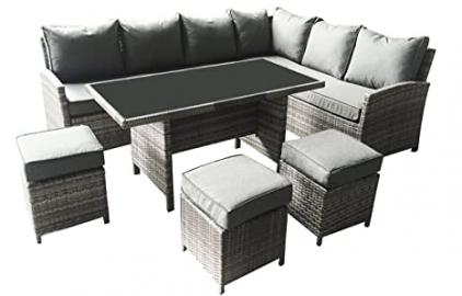 MMT Rattan Gardren Furniture Dining Corner set - 8 seater - 6 piece set - Cream cushions for 2017 models, awaiting new pictures
