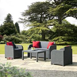 Rattan Wicker Garden Outdoor All Wather Dinning Lounge Furniture set - 2 armchairs, 1 two-seater sofa, 1 coffee table in ANTHRACITE