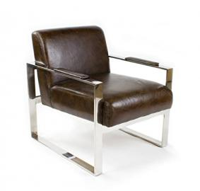 Vintage Industrial Real Leather Settle Armchair Metal Design