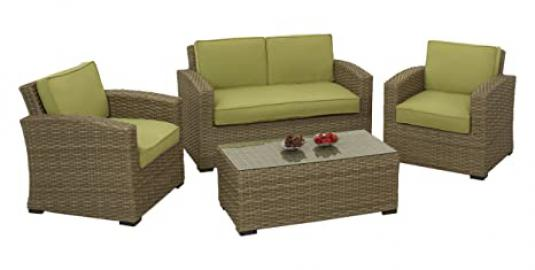 Maze Rattan Natural Milan Square 2 Seater Sofa Set with Green Cushions