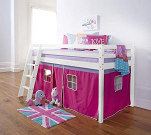 Cabin Bed Mid Sleeper in White + Mattess with Tent Pink 5758WG-PINK+MATTRESS