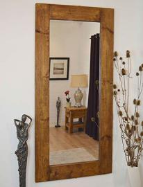 Large Natural Solid Wood Wall Mirror 6Ft X 3Ft (183cm X 91cm)