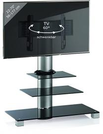 VCM Amalo TV Stand with 2 Glass Shelves includes Role Set, Black Glass