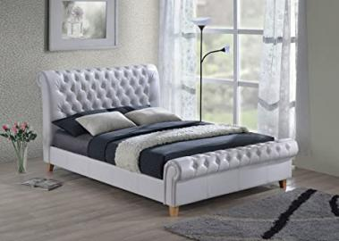 New Luxury Chesterfield 4ft6 Double White Leather Sleigh Bed