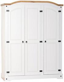 Seconique Corona 3 Door Wardrobe - White/Distressed Waxed Pine