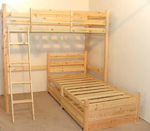 L SHAPED 3ft bunkbed with TWO sprung mattresses- Wooden LShaped Bunk Bed for kids - with storage
