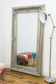 Large Silver Shabby Chic Design Ornate Wall Mirror New 6Ft1 X 3Ft3 185cm X 99cm