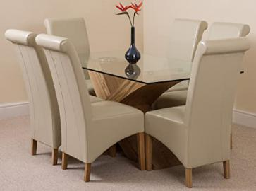 Valencia 160 cm Glass & Oak effect Base Dining Table with Montana Chairs