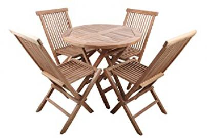 point-Garden Garden Furniture Set Teak Wood Table + 4 Chairs