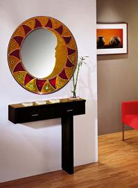 Glass mirrors decorated by hand: model MAYA. Red.