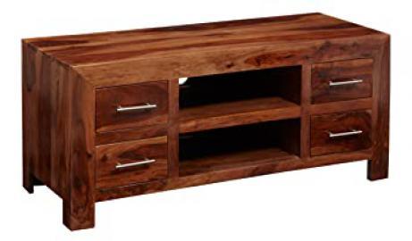 CL37 Vera Range - Sheesham 4 Drawer Tv Unit - Deep Honey - Solid Indian Sheesham Hardwood - No Assembly Required