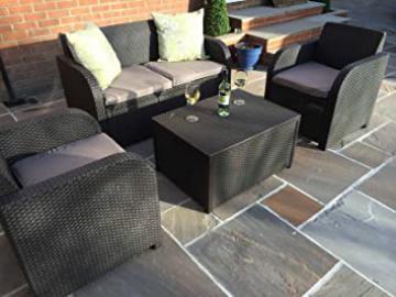 Allibert by Keter Carolina 4 Seater Lounge Set Outdoor Garden Furniture - Brown/Taupe Cushions