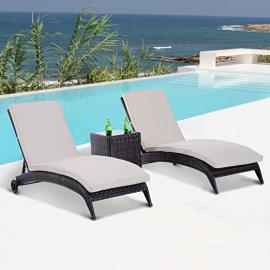 Outsunny Garden Rattan Furniture 3 PCs Wicker Sun Lounger Chaise Recliner with Table Set Patio Outdoor Furniture