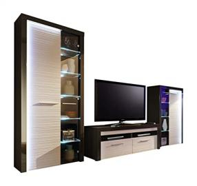 Furnline Flamingo Living Room Furniture Set TV Stand Wall Unit, Grey/White