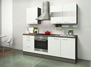 respekta Kitchen Unit Built-In Kitchen 210 CM Oak / Grey / High-Gloss White Ceramic