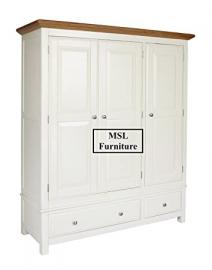 IVORY PAINTED OAK TRIPLE WARDROBE WITH DRAWERS