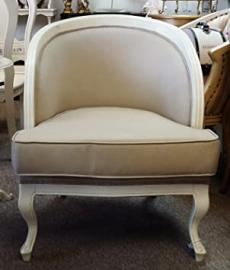 Shabby Chic, Ornate, Feature Arm Chair Antique White Frame with Beige Corded Cotton Upholstery