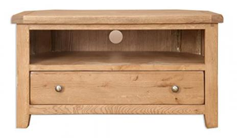 Melbourne Country Living Solid Rustic Oak Corner Tv Cabinet (Oaklands Furniture)