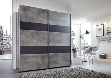 German Chess Concrete Grey Industrial 2 Door 135cm Sliding Slider Door Wardrobe