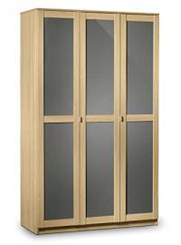 Julian Bowen Strada 3-Door Wardrobe, Light Oak/Grey
