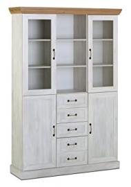 Ambleside 3 Bay Glass Display Unit Cabinet With Drawers - White Ash & Oak H:187cm W:127cm D:39cm Dinning Room Storage Solutions